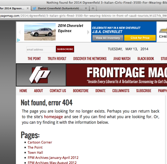 Daniel Greenfield removed the story at Front Page after pressure mounted