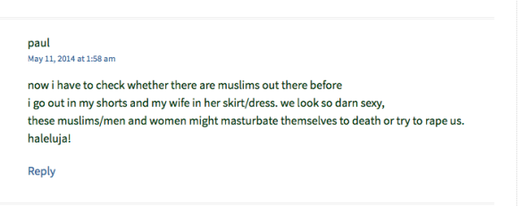 """This Jihad Watch reader says that Muslims will """"masturbate themselves to death"""" and try to rape us."""