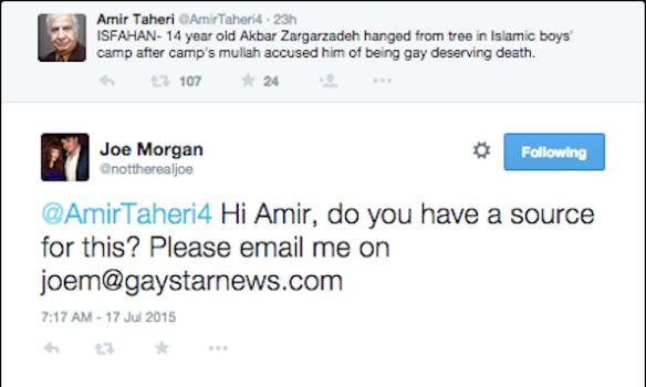 Morgan to Taheri tweet