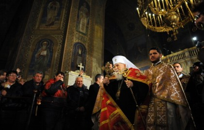 Patriarch Maxim of the Bulgarian Orthodox Church participates in an Orthodox Easter service in the golden-domed Alexander Nevski cathedral in Sofia on April 15, 2012. The Bulgarian Orthodox Church celebrated Easter, according to the Julian calendar. AFP PHOTO / NIKOLAY DOYCHINOV (Photo credit should read NIKOLAY DOYCHINOV/AFP/Getty Images)